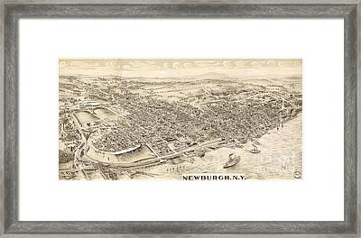 Newburgh Ny Birds Eye Drawing Framed Print