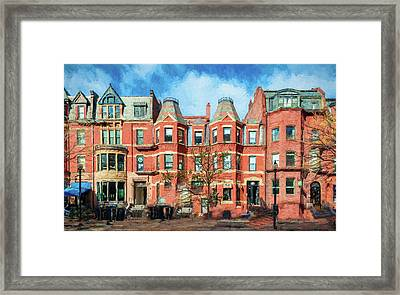 Newbury Street In Boston Framed Print