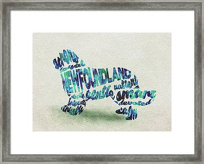 Newfoundland Dog Watercolor Painting / Typographic Art Framed Print