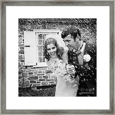 Newlyweds Showered With Rice, C.1960-70s Framed Print by H. Armstrong Roberts/ClassicStock