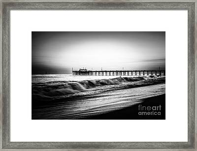 Newport Balboa Pier Black And White Picture Framed Print