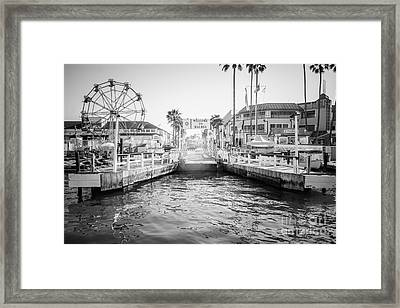 Newport Beach Ferry Dock Black And White Photo Framed Print by Paul Velgos