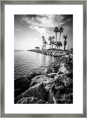 Newport Beach Jetty Black And White Photo Framed Print