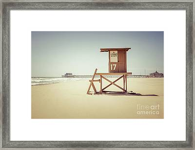Newport Beach Pier And Lifeguard Tower 17 Framed Print by Paul Velgos