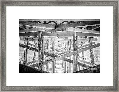Newport Beach Pier Black And White Photo Framed Print by Paul Velgos