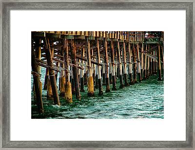 Newport Beach Pier Close Up Framed Print by Mariola Bitner