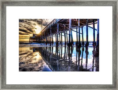 Newport Beach Pier - Reflections Framed Print