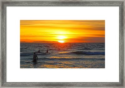 Newport Beach Sunset Framed Print by Habib Ayat