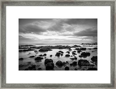 Newport Beach Tide Pools Black And White Photo Framed Print by Paul Velgos