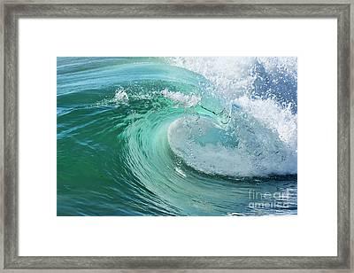 Newport Beach Wave Curl Framed Print by Eddie Yerkish