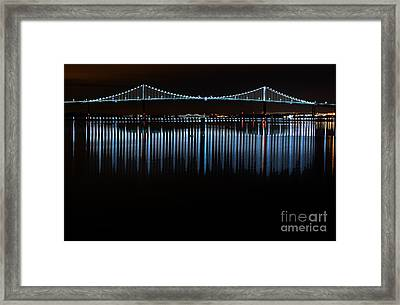 Newport Bridge Night Reflection Framed Print