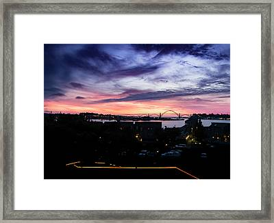 Newport Bridge Sunset Framed Print