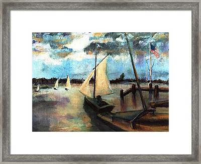 Newport Moonlight Sail Framed Print by Randy Sprout