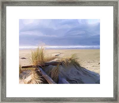 Framed Print featuring the painting Newport Oregon Summer Beach by Shelley Bain