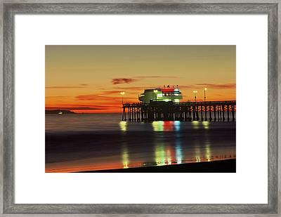 Newport Pier After Sunset Framed Print