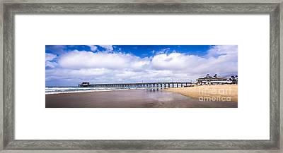 Newport Pier Panorama In Newport Beach California Framed Print by Paul Velgos