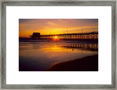 Newport Pier Sunset Framed Print