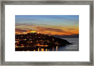Newquay Harbor At Night Framed Print