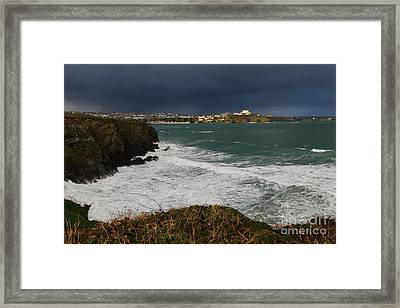 Framed Print featuring the photograph Newquay Squalls On Horizon by Nicholas Burningham