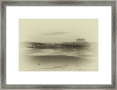 Newquay With Old Watercolor Effect  Framed Print by Nicholas Burningham