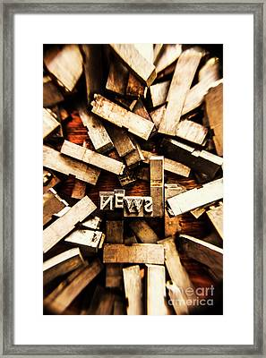 News In Press Typeset Framed Print by Jorgo Photography - Wall Art Gallery