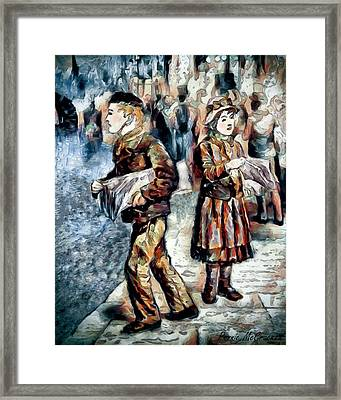 Framed Print featuring the digital art Newsboy by Pennie McCracken