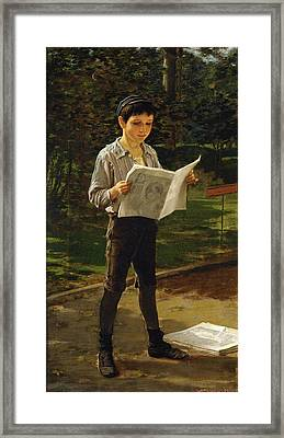 Newsboy Reading The Paper Framed Print