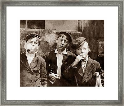 Newsboys Smoking - 1910 Child Labor Photo Framed Print by War Is Hell Store