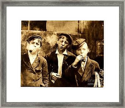 Newsies Smoking At Skeeter's Branch St. Louis Framed Print