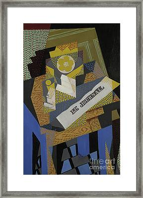 Newspaper And Fruit Dish, 1916 Framed Print by Juan Gris