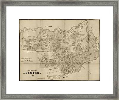 Newton Ma City Plans From 1700 Sepia Framed Print by Toby McGuire