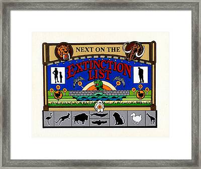 Next On The Extinction List Framed Print by Turtle Caps
