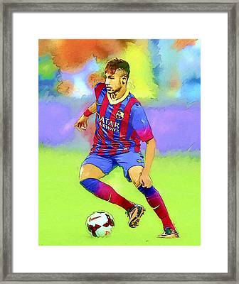Neymar Football Soccer Landscape Art Painting Framed Print by Andres Ramos