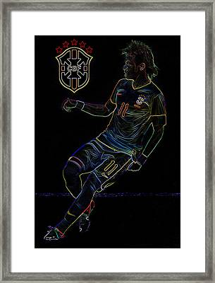 Neymar Neon II Framed Print by Lee Dos Santos