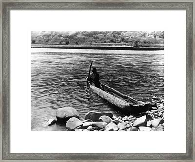 Nez Percé Canoe. Nez Percé Man Framed Print by Everett