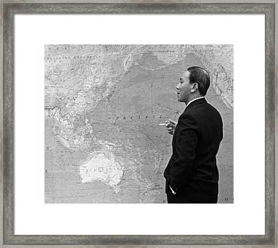 Nguyen Van Thieu With Map Framed Print