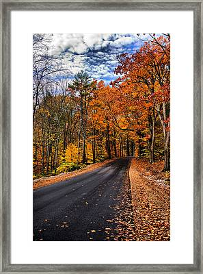 Nh Autumn Road 3 Framed Print