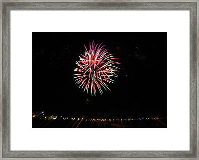 Nh Fireworks On The Beach Framed Print by Laura Catherine