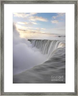 Niagara Falls Beautiful Sunrise In Soft Colors Framed Print