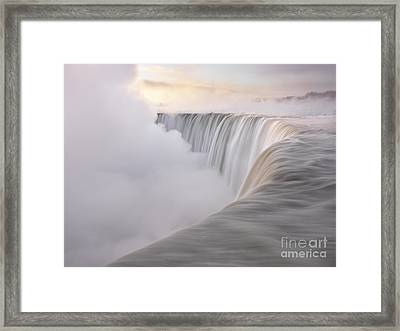 Niagara Falls Beautiful Sunrise In Soft Light Colors Framed Print