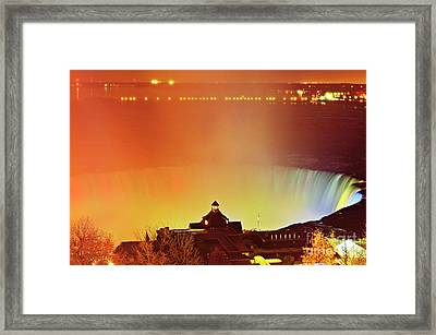Framed Print featuring the photograph Niagara Falls Illumination Light Show by Charline Xia