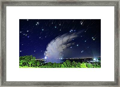 Niagara Falls Rising Mist Under Starry Sky Framed Print by Charline Xia