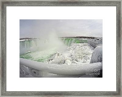 Niagara Falls Winter Crystal Ice Formation Framed Print by Charline Xia