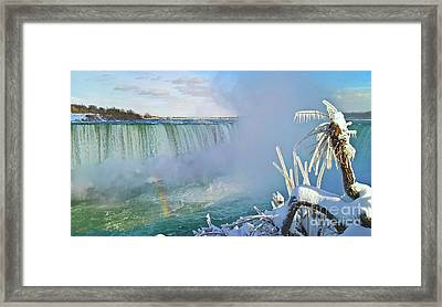 Niagara Falls Winter Landscape Framed Print by Charline Xia