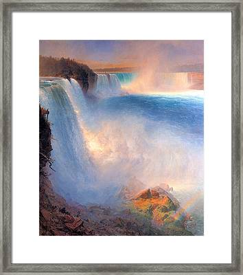 Niagra Falls From The American Side 1867 Framed Print by Frederic E Church Presented by Joy of Life Art