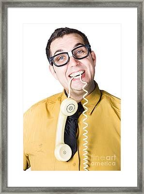 Nice Businessman Answering Telephone Call Framed Print by Jorgo Photography - Wall Art Gallery