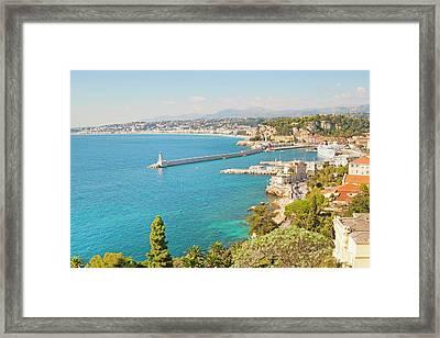 Nice Coastline And Harbour, France Framed Print by John Harper