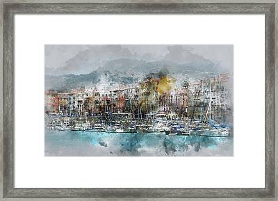 Nice France Digital Watercolor On Photograph Framed Print by Brandon Bourdages