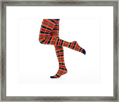 Nice Legs In Bright Fancy Tights Framed Print