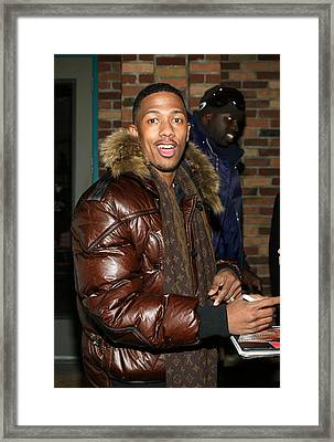 Nick Cannon Wearing Louis Vuitton Scarf Framed Print by Everett